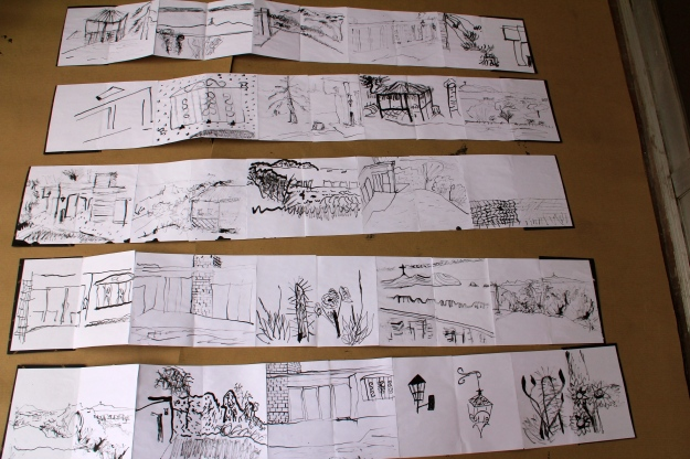 Five person 360 degree landscape accordion books drawn by Gemini staff and me