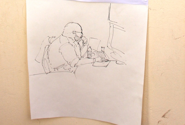 Sketch of Eduardo Marin looking for a hole in the clouds at night at the telescope operations room